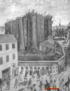 La presa della Bastiglia, l'episodio che dette il via alla Rivoluzione Francese, il 14 luglio 1789, in un dipinto di Claude Cholat.