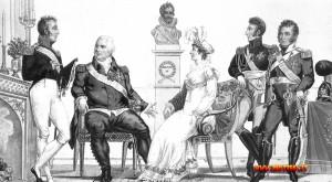 La famiglia reale francese in una stampa del 1815: Luigi XVIII, il conte d'Artois (futuro Carlo X), il duca e la duchessa d'Angouléme e il duca di Berry: gli ultimi due saranno chiamati in causa, inutilmente, da Claude Perrin, alias Hébert, alias Ethelberg, detto barone di Richemont, uno dei tanti che pretesero di farsi passare per Luigi XVII.