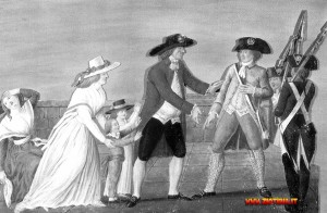 L 'arresto di Luigi XVI e dei suoi familiari a Varennes. Il re si era deciso troppo tardi a tentare la fuga all 'estero. L'operazione, comunque male organizzata, fallì probabilmente in seguito a una delazione.