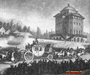 La carrozza con i reali di Francia, bloccata a Varennes, viene ricondotta sotto buona Scorta a Tuileries
