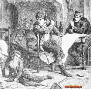 Luigi XVII al Tempio con il calzolaio Simon, un popolano rozzo che però, contrariamente alle voci messe in giro dai monarchici, non tratterà male il bambino; riuscirà anzi, col tempo, a stabilire con lui un rapporto amichevole.