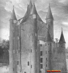 Il Tempio nel 1793: comprendeva un edificio centrale circondato da quattro torri, collegato a una costruzione più bassa munita di altre due torrette.
