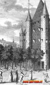 La famiglia reale nel cortile del castello-prigione chiamato il Tempio.