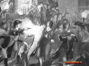 L'arresto di Robespierre nella notte fra il 27 e il 28 luglio 1794. Dopo aver sparso tanto sangue, l'Incorruttibile finisce a sua volta sulla ghigliottina.