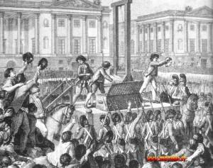L'esecuzione di Luigi XVI, ghigliottinato il 21 gennaio 1793.