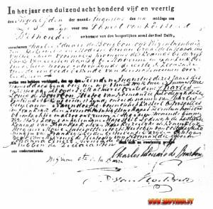 L'atto di morte di Naundorff sottoscritto anche dal figlio, che si firma «Charles Edouard de Bourbon».